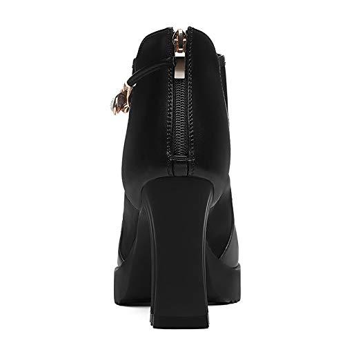 Fondo Grueso Zapatos Las Zapatos señoras black Mujer Otoño y Cuero con Zapatos de AJUNR tacón talón de Transpirable de 1a4w8T