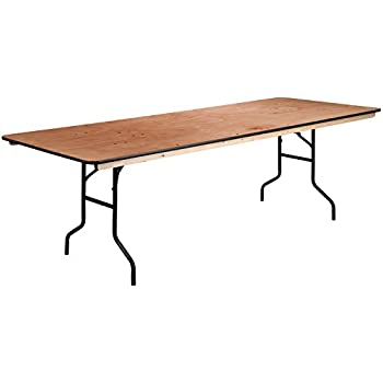 this item flash furniture rectangular wood folding banquet table clear coated finished top tv plans cosco and chairs