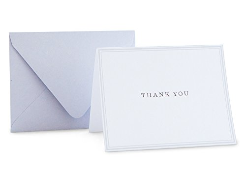 Classic Gray Thank You Note Card, Simple Stationery Set, 24 Cards & 25 Envelopes (Stationery You Thank)