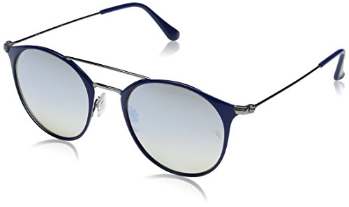 Ray-Ban Steel Unisex Round Sunglasses, Gunmetal Top Blue, 49 - Ban Sunglasses Top Gun Ray
