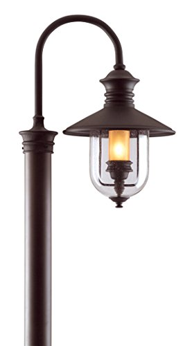 Troy Lighting Old Town 1-Light Outdoor Post Lantern - Natural Bronze Finish and Clear Seeded with Amber Cylinder (Old Bronze Troy Lighting)