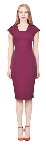 [Marycrafts Women's Cocktail Party Office Business Ponte Sheath Dress 8 Burgundy] (Womens Ponte Sheath Dress)