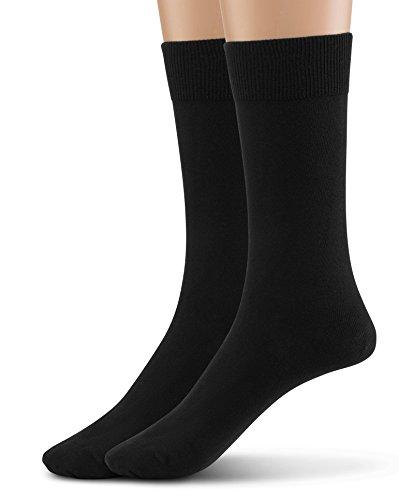 (Silky Toes Modal 2Pk Flat Men's Dress Crew Socks, Super Soft Socks (9-11, Black (Flat Knit-2 Pairs)))