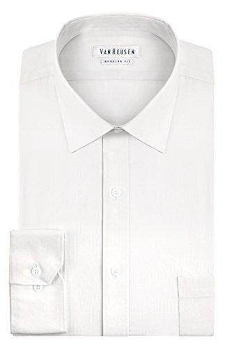 60 Van (Van Heusen Men's Pincord Regular Fit Solid Spread Collar Dress Shirt, White, 16.5
