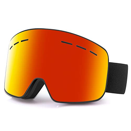 - ReHaffe Snowboard Goggles Clear Lens, Breathable Ski Goggles OTG 2 Lens Fog Proof and Anti-Scratch Helmet Compatible for Adults Youth or Junior to Skating and Snowmobile