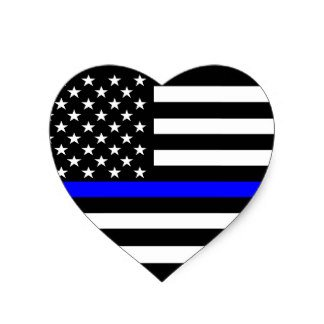 Heart thin blue line 4x4 inches flag honoring our men & women of law enforcement and Fire Fighters USA america Flag symbol sticker decal die cut vinyl - Made and Shipped in USA (Best Police Cars Usa)