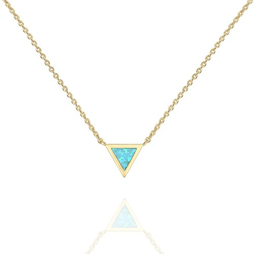 PAVOI 14K Yellow Gold Plated Triangle Bezel Set Green Opal Necklace 16-18""