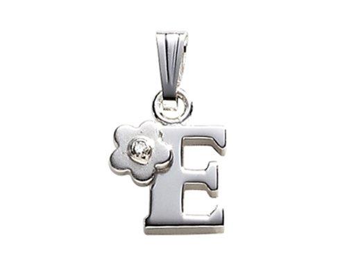 "Childrens Letter ""E"" Charm Pendant Diamond on 14 Inch Chain"
