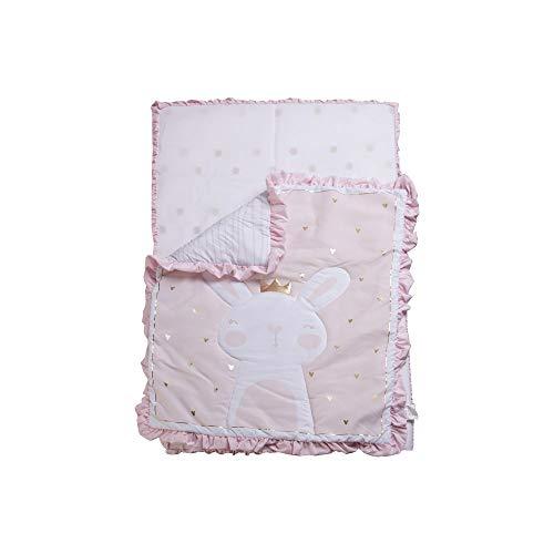 3 Piece Crib Baby Bedding Set - Pink Princess Bunny