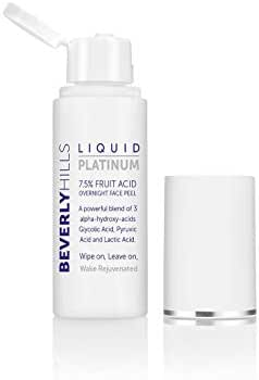 Beverly Hills Liquid Platinum - Glycolic Acid Facial Peel with Lactic; Pyruvic Acid. Exfoliate, Minimize Pores and the Appearance of Wrinkles 7.5% Fruit Acid Overnight Peel 50ml
