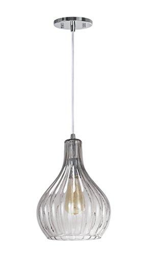 Transitional Light 1 Pendant - Aspen Creative 61039-2 Adjustable 1 Light Mini Pendant Ceiling Light, Transitional Design in Chrome Finish, Smoke Glass Shade, 8 5/8