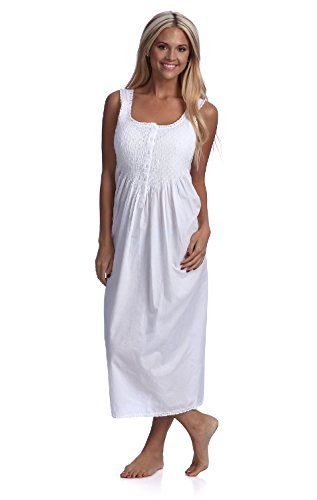 Handmade Women's Smock Tatting Lace Full-length Nightgown White (10/L) ()