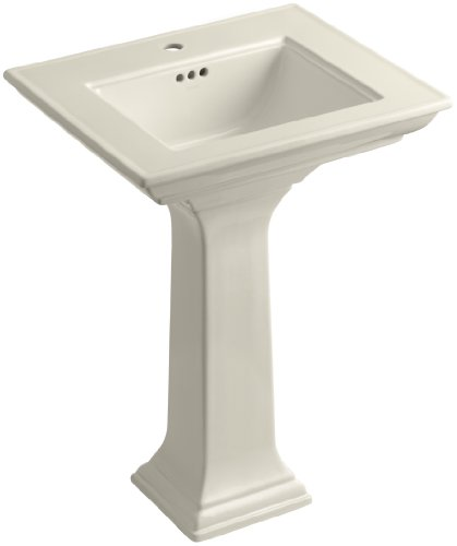 KOHLER K-2344-1-47 Memoirs Pedestal Bathroom Sink with Stately Design and Single-Hole Faucet Drilling, Almond