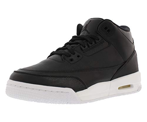 Jordan Nike Air 3 Retro Bg Boys Basketball Shoes (7Y, Black/Black/White) (Boys Size Shoes Jordan 7)
