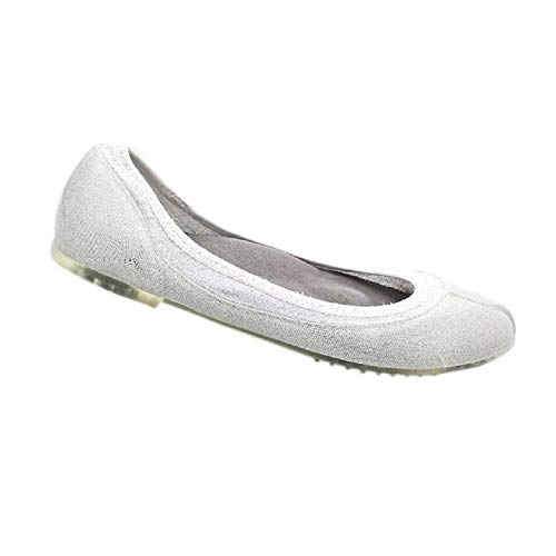 JA VIE Womens Summer Shoes Womens Ballet Flats Style for Every Day Wear Driving, Silver Lurex SZ 40 ()