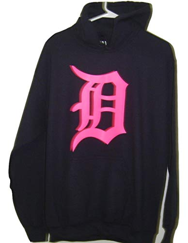 Gildan Detroit NEON Pink Logo Old English D Pullover Hoodie (Small, Black)