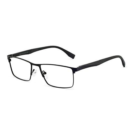 OCCI CHIARI Optical Eyewear Non-prescription Eyeglasses Metal Spring Hinge Rectangle Glasses Frame For Men ()