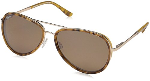 (Pepper's Luna Polarized Oval Sunglasses, Shiny Gold w. Blond Tortoise Rim, 58 mm)