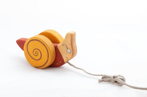 Pull Along Hand Crafted Birch Wood Non Toxic Snail Toy  Red
