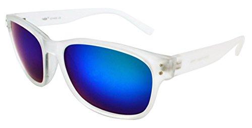 Vox élégant léger durable de qualité pour homme et pour femme tendance rétro Wayfarer Lunettes de soleil W/étui microfibre gratuit Clear Frame - Blue/Green Lens
