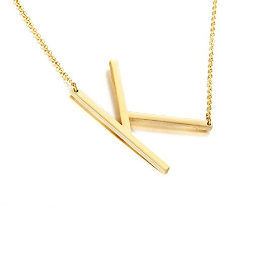 DIANE LO'REN 18K Gold Plated Sideways Initial Charm Necklace -