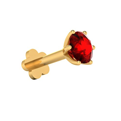 - Demira Jewels Natural Solitaire 3.50 mm Red Ruby 14k Yellow Gold Engagement Nose Lip Labret Monroe Ring Stud Screw