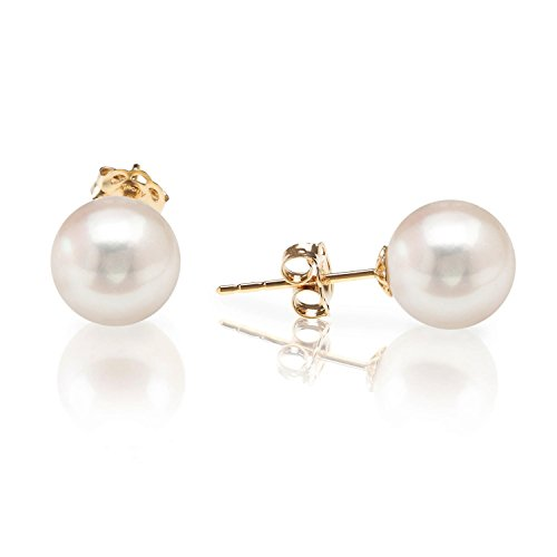 PAVOI 14K Gold AAA+ Handpicked Round Freshwater Cultured White Pearl Earrings for Women