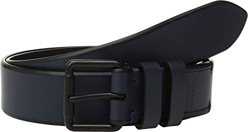 Haan Cole Mens Belt (Cole Haan Men's 35 mm. Smooth Leather Bevel Edge w/Double Loop Navy/Matte Black 32)