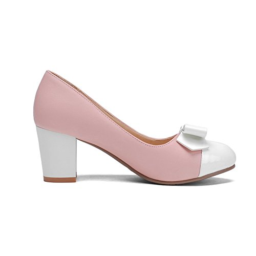 BalaMasa Ladies Assorted Color High-Heels Imitated Leather Pumps-Shoes Pink x1VZElHr3E