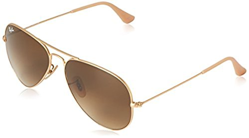 Ray-Ban Aviator Large Metal RB 3025 Sunglasses Matte Gold / Brown Gradient 55mm & HDO Cleaning Carekit - 55mm Gradient 3025 Brown Ray Ban Gold