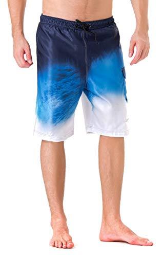 Clothin Men's Quick Dry Beach Boardshort Swim Trunks Swimming Shorts(Lake Blue,US 38)