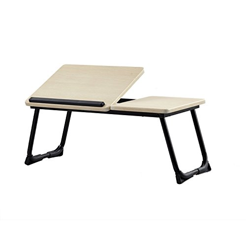 GreenForest Laptop Desk Stand Foldable Portable Large Size Tilting Home and Office Supplies MDF Lap Desk Bed Tray Beige by GreenForest