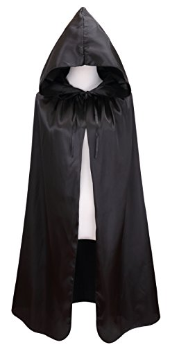 VGLOOK Kids Halloween Costumes Christmas Cloak with Hood Ages 8 to16 Black