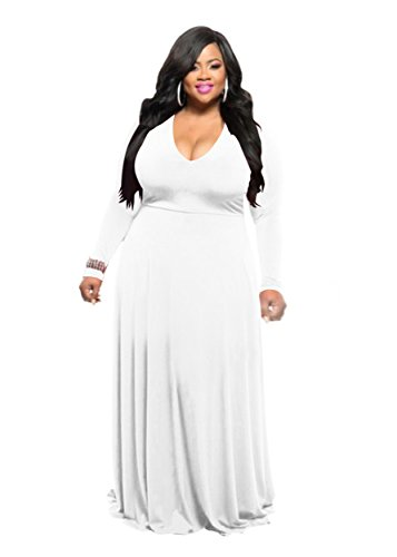 Hply Women Casual Classy Long Dresses Sexy V Neck Plus Size Cocktail