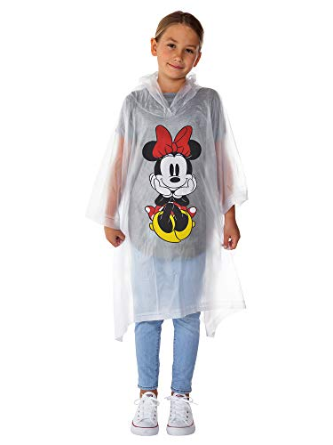 Disney Minnie Mouse Rain Poncho Hoodie Front Back Print (Minnie - Youth)