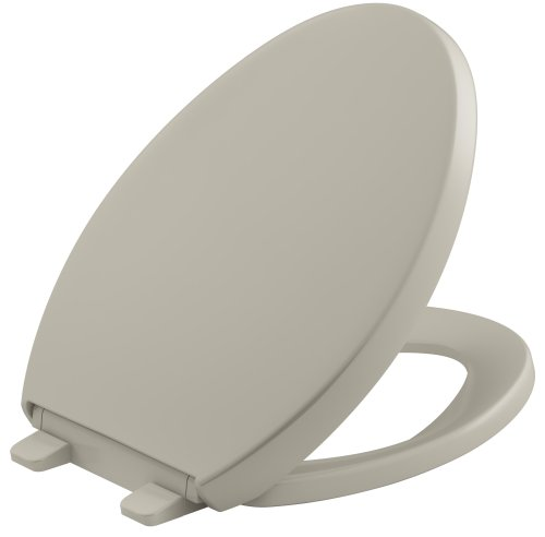 KOHLER K-4008-G9 Reveal Quiet-Close with Grip-Tight Bumpers Elongated Toilet Seat, Sandbar