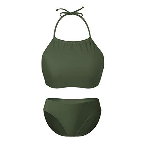 - Womens Halter Bikini High Neck Set Two Piece Swimsuits Racerback Bathing Suits Green