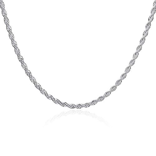 (Designer Inspired 4mm Silver Rope Chain Necklace Silver 925 16