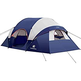 2021 Upgraded Camping Tent – HIKERGARDEN 10 Person Tent for Camping Waterproof, Family Tent, Windproof Fabric, Easy…