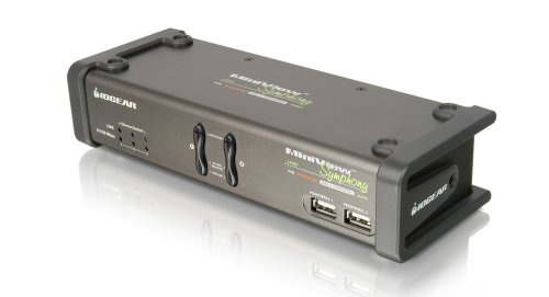 IOGear 2-Port Symphony KVM Switch with USB Video Card, USB Hub, and Cables GCS1772 (Grey)