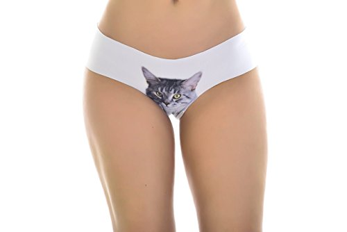 Cutest Womens Hipster Cat Panties SET of 2 - Cat Underwear Two Hipster Pack