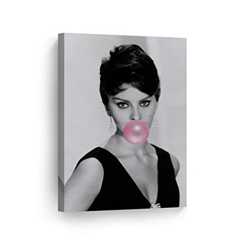 SmileArtDesign Sophia Loren Pink Bubble Gum Chewing Gum Wall Art Canvas Print Pretty Iconic Pop Art Home Decor Artwork Gallery Stretched and Ready to Hang -%100 Handmade in The USA - 22x15