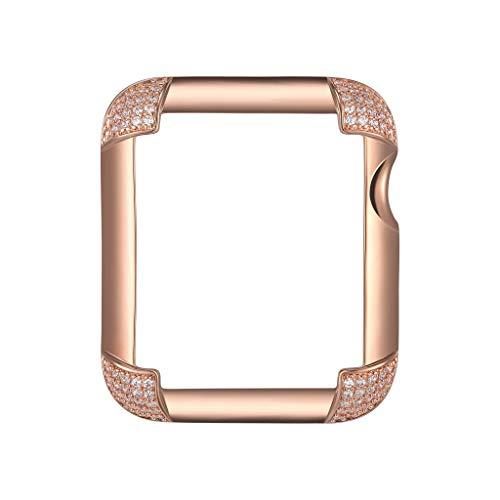 14K Rose Gold Plated Jewelry-Style Apple Watch Case with Cubic Zirconia CZ Pavé Corners - Small (Fits 38mm iWatch) ()