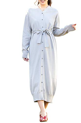(Sweet Mommy Maternity and Nursing Open Front 100% Organic Cotton Knit Cardigan Dress, Grey, M)