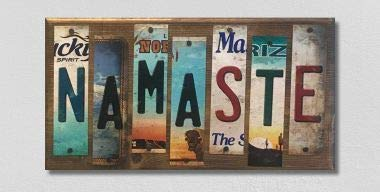 Namaste License Plate Strip Novelty Wood Sign (with Sticky Notes)
