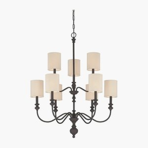 Cheap Craftmade Lighting 28529-GB Willow Park – Nine Light 2-Tier Chandelier, Golden Bronze Finish with Biege Fabric Shade