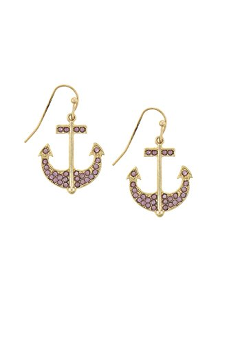 KARMAS CANVAS FAUX STONE ACCENT ANCHOR DROP EARRINGS (Pink) (Crislu Drop Necklace)
