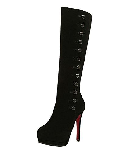 Ladola Womens Platform Red Bottom Solid Spikes Stilettos Urethane Boots Black