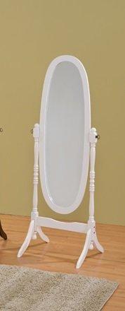 Round Style Wood Cheval Floor Mirror, White