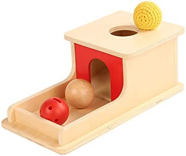Adena Montessori Object Permanence Box with Tray Three Balls (Wood , Plastic ,Braided ), Montessori Toys for Babies Infant 6-12 Month 1 Year Toddlers